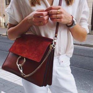 Chloé Faye Medium Burgundy Shoulder Bag
